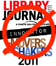 screenshot of the Library Journal 2011 Innovator image with a red circle and a line thro