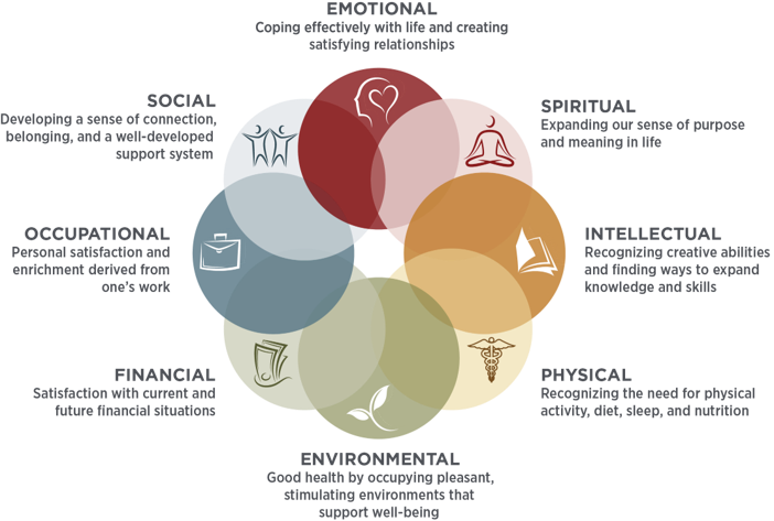 IMAGE from SAMHSA with eight overlapping circles depicting the 8 dimensions of health emotional, physical, occupational, intellectual, financial, social, environmental, and spiritual.